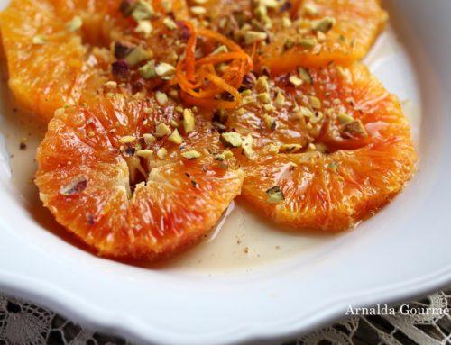 Arance di Sicilia flambé con pistacchi e pepe dello Sichuan